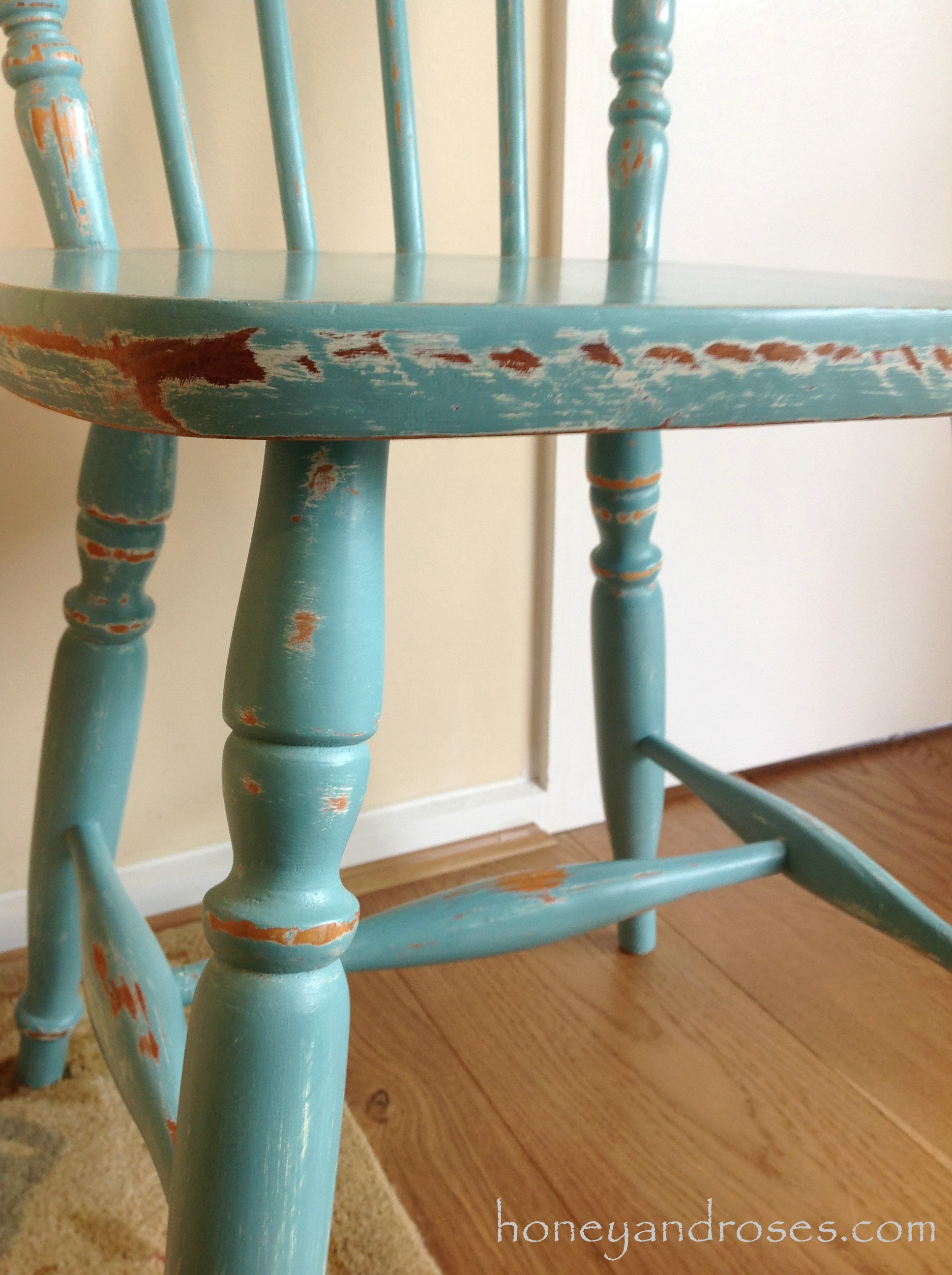 makeover of a pine kitchen chair using chalk paint turquoise kitchen chairs Makeover of a Pine Kitchen Chair using Chalk Paint