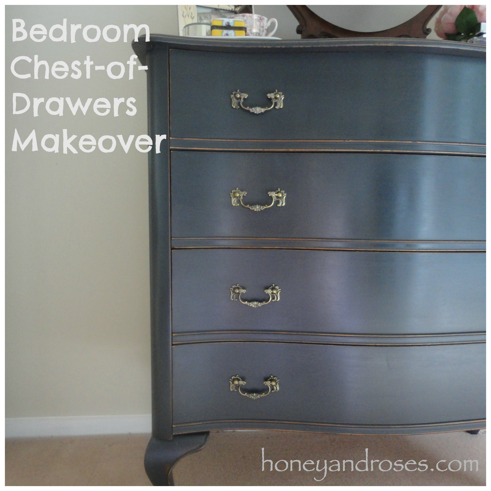 bedroom of makeover honey chest drawers roses