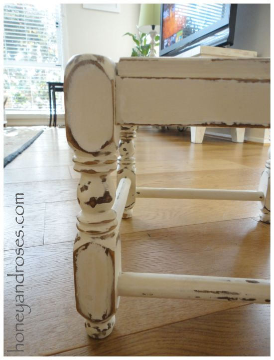 How to Makeover a Shabby Step Stool | www.honeyandroses.com
