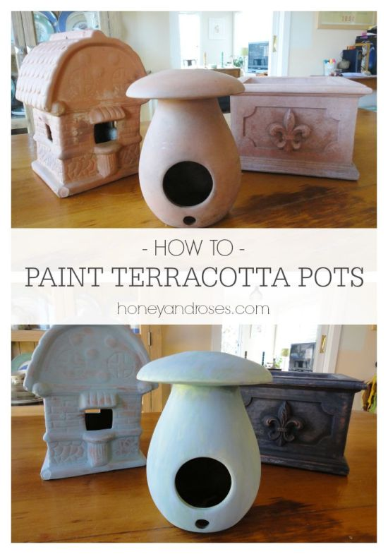 How to Paint Terracotta Pots | www.honeyandroses.com